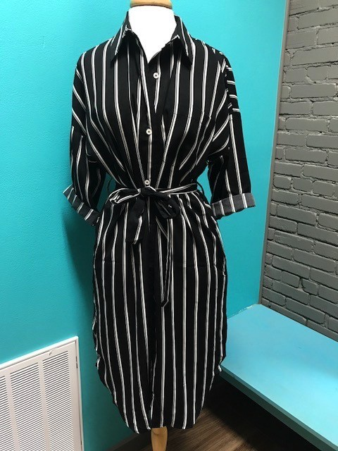 Dress Striped Button Down Pocket Dress