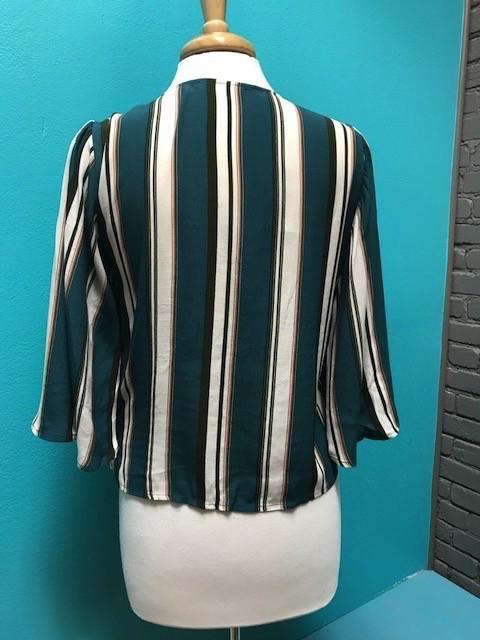 Top Teal Stripe VNeck Tie Top