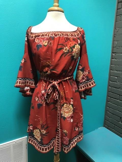 Dress Rust Floral Off Shoulder Dress