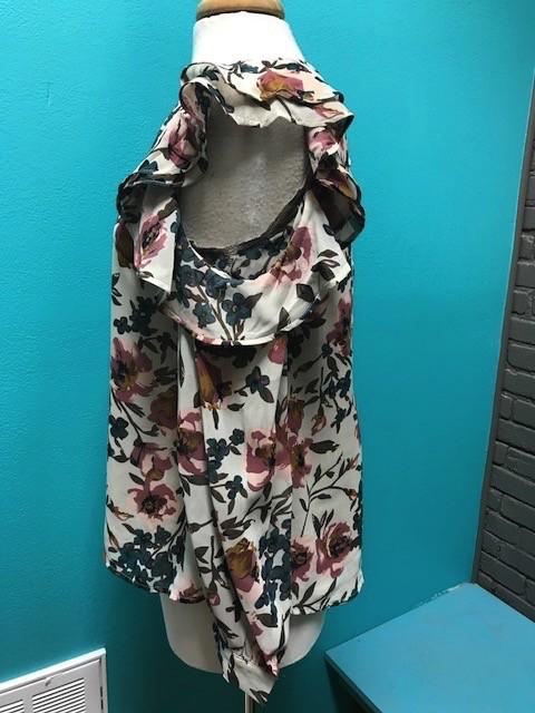 Long Sleeve Ivory Floral Cold Shoulder LS