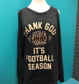 Long Sleeve Football Season Cold Shoulder LS