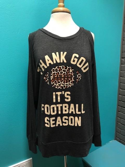 Long Sleeve Football Season Cold Shoulder LS