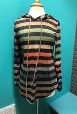 Hoodie Olive Stripe LS Hoodie