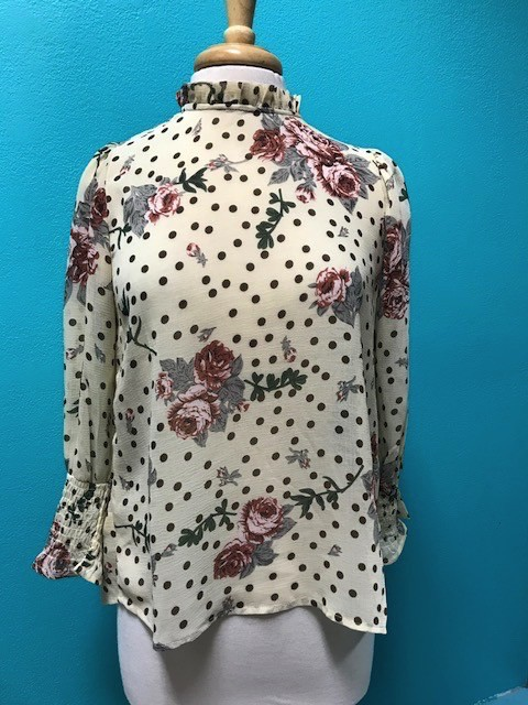 Top Tan Floral High Collar Top