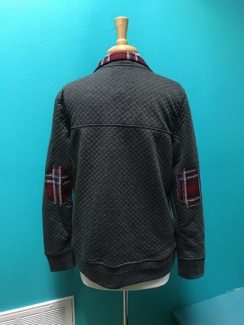Jacket Quilted Pullover w/ Plaid Detail