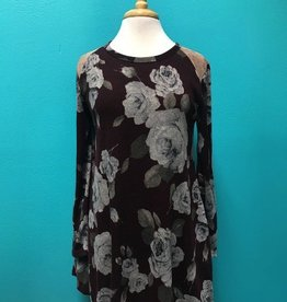 Tunic LS Floral Tunic w/ Suede Detail