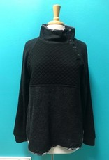 Hoodie Black Quilted Button Pullover