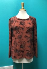 Long Sleeve Rust Floral LS Lace Up Back