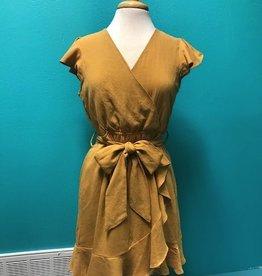 Dress Mustard Ruffle Wrap Dress
