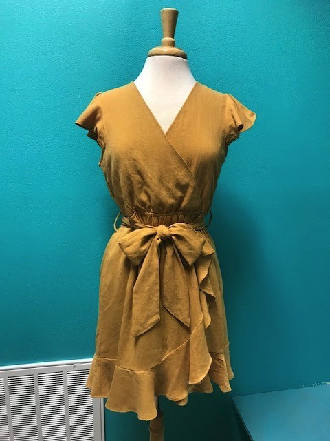 Dress Mustard Ruffle Wrap Dress