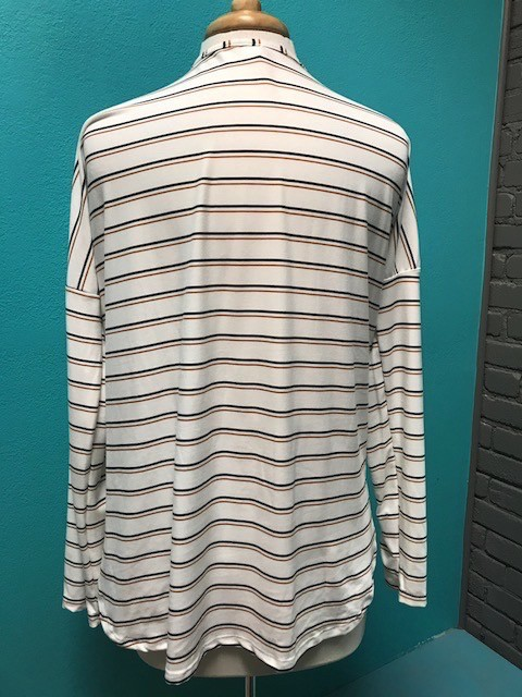 Top Ivory Striped Knot Button Top