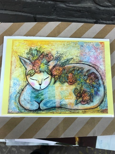 Card Cat w/ Flowers Greeting Card