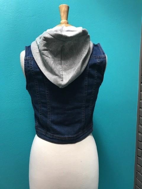 Vest Denim Hooded Vest w/ Design