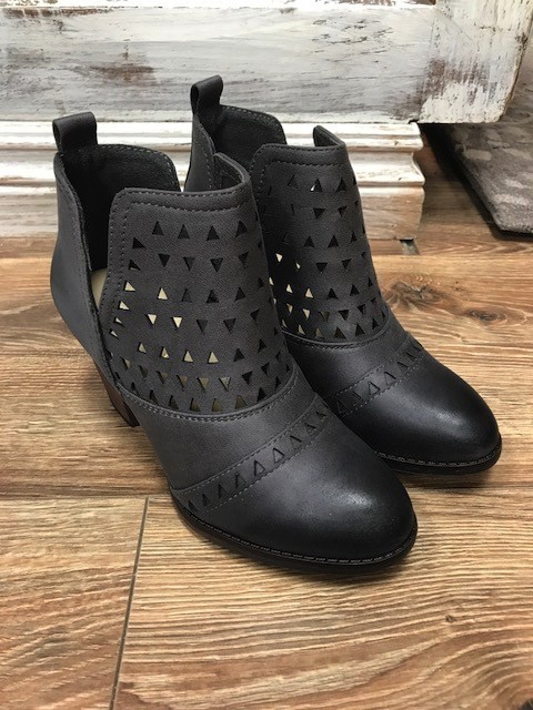 Boot Grey Cutout Side Cut Booties
