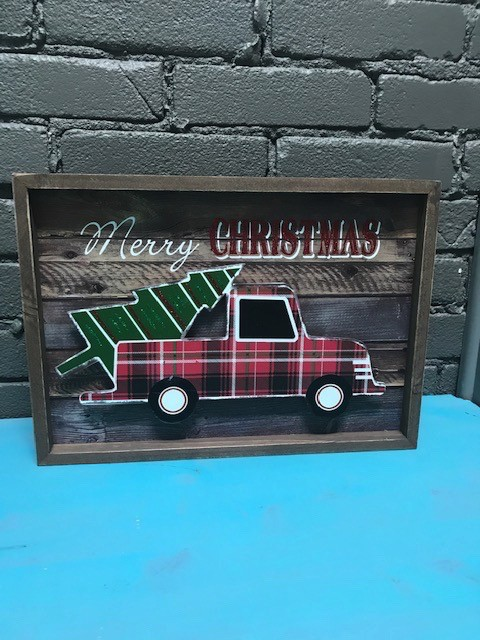 decor wood merry christmas truck tree - Christmas Truck Decor
