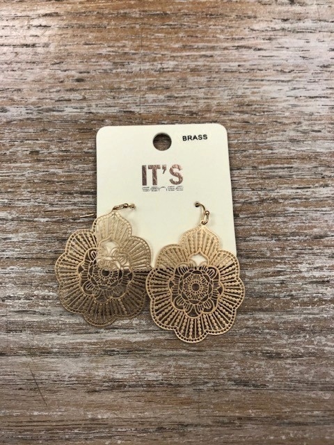 Jewelry Gold Floral Design Earrings