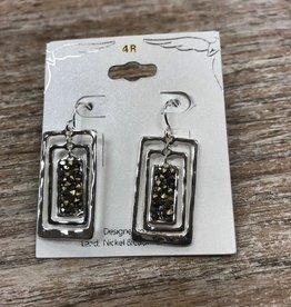 Jewelry Silver Retangles w/ Gems Earrings