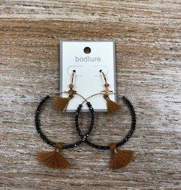 Jewelry Black Beads Mustard Tassle Earrings