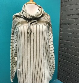 Long Sleeve Striped LS Cowl Neck
