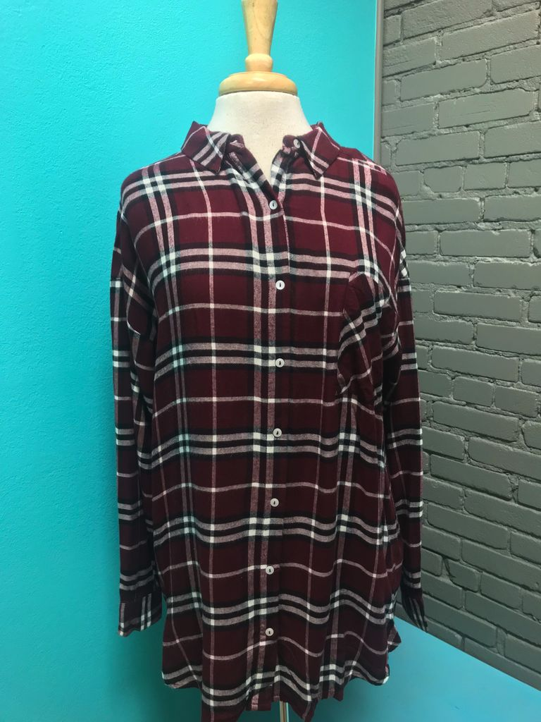 Top Burgundy Plaid  LS Button Down