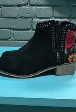 Shoes Floral Embroidery Side Cutout Booties
