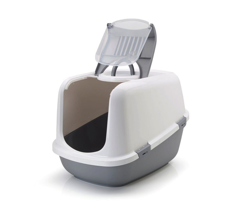 Savic Savic USA - Nestor Litter Box with Hood, White/Grey, Jumbo