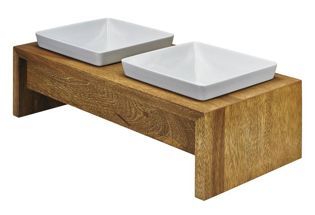 Bowsers Pet Bowsers Artisan Double Wood Feeder, Bamboo, Extra Small
