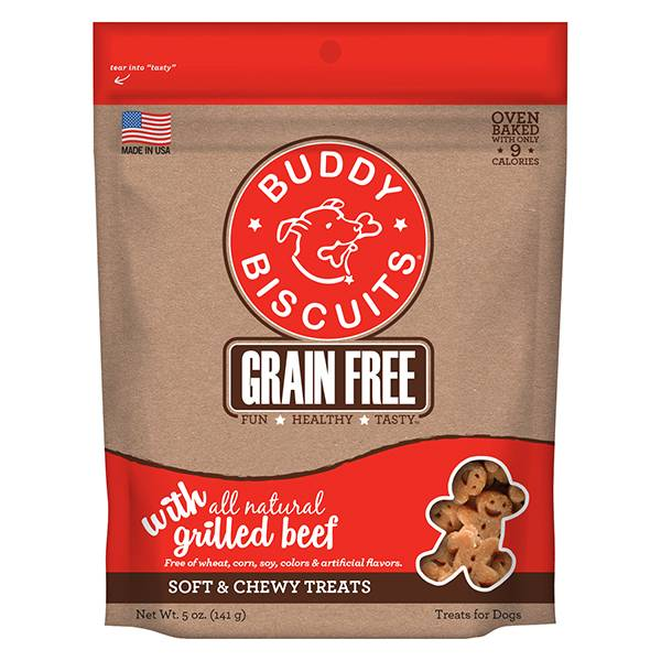 Cloud Star Buddy Biscuits Grain-Free Soft & Chewy with Slow Roasted Beef Dog Treat, 5 oz bag