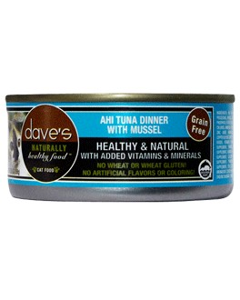 Dave's Dave's Naturally Healthy Grain Free Ahi Tuna & Mussel Cat Entree, 3 oz can