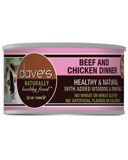 Dave's Dave's Naturally Healthy Grain Free Beef and Chicken Cat Dinner, 3 oz can