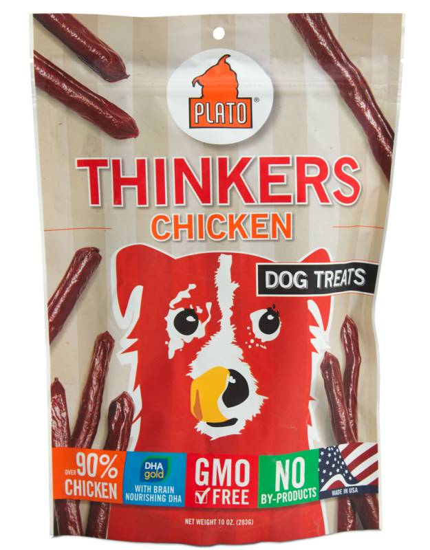 Plato Plato Thinkers Chicken Smart Dog Treat, 10oz bag