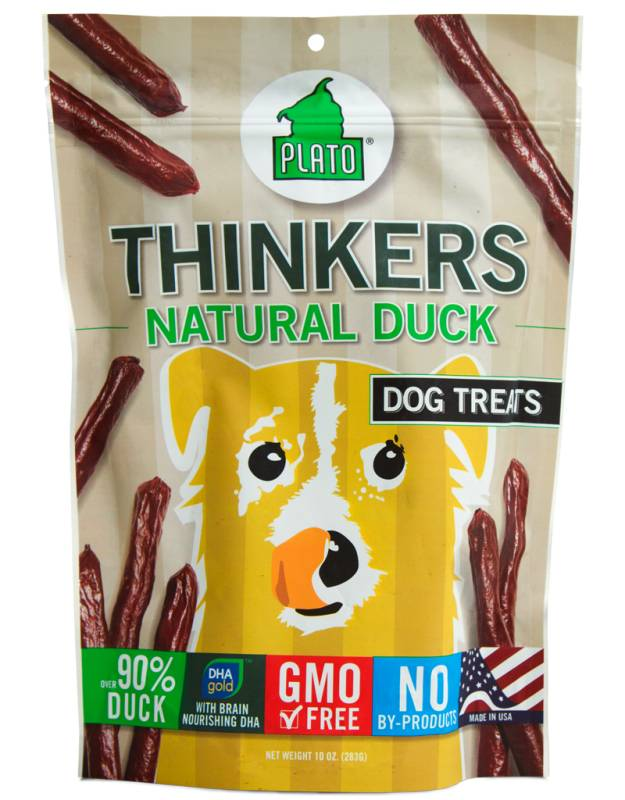 Plato Plato Thinkers Natural Duck Smart Dog Treat, 10oz bag
