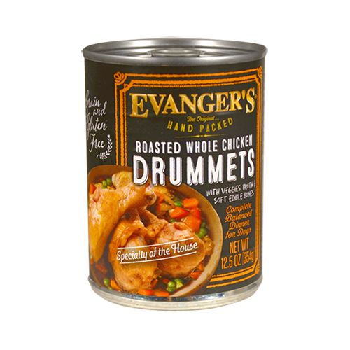 Evanger Evanger's Hand Packed Roasted Chicken Drummet Canned Dog Food, 12.5oz, 12ct