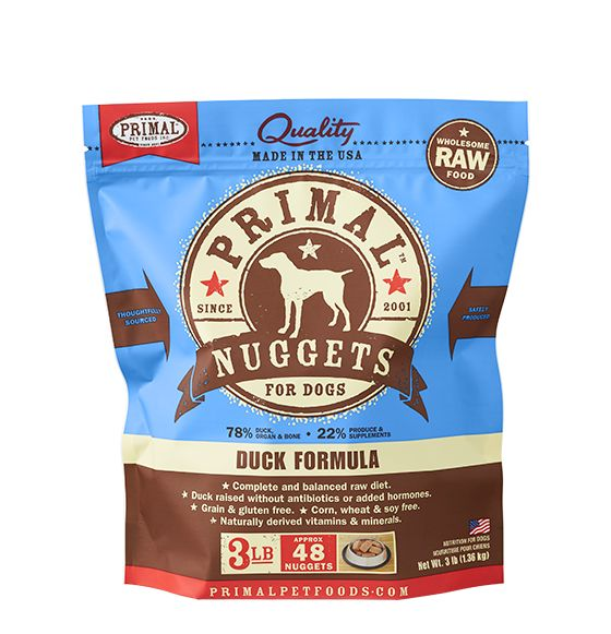 Primal Primal Frozen Dog Food, Duck, 3# bag