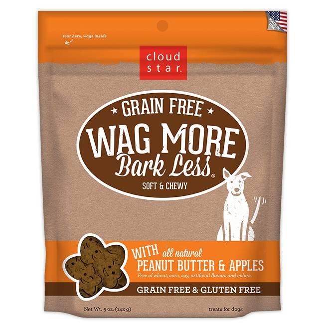 Cloud Star Cloud Star Wag More Bark Less Grain Free Soft & Chewy Peanut Butter & Apples, 5 oz bag