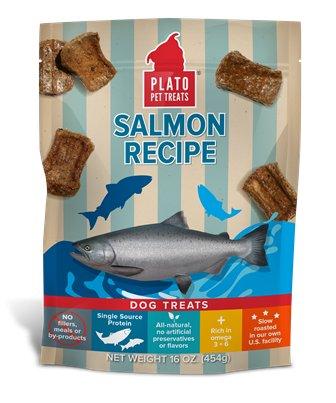 Plato Plato Salmon Strips Dog Treats, 16oz bag