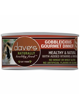 Dave's Dave's Gobbleicious Gourmet Dinner Cat Can Food, 5.5 oz can