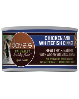 Dave's Dave's Naturally Healthy Grain Free Chicken and Whitefish Cat Dinner, 3 oz can