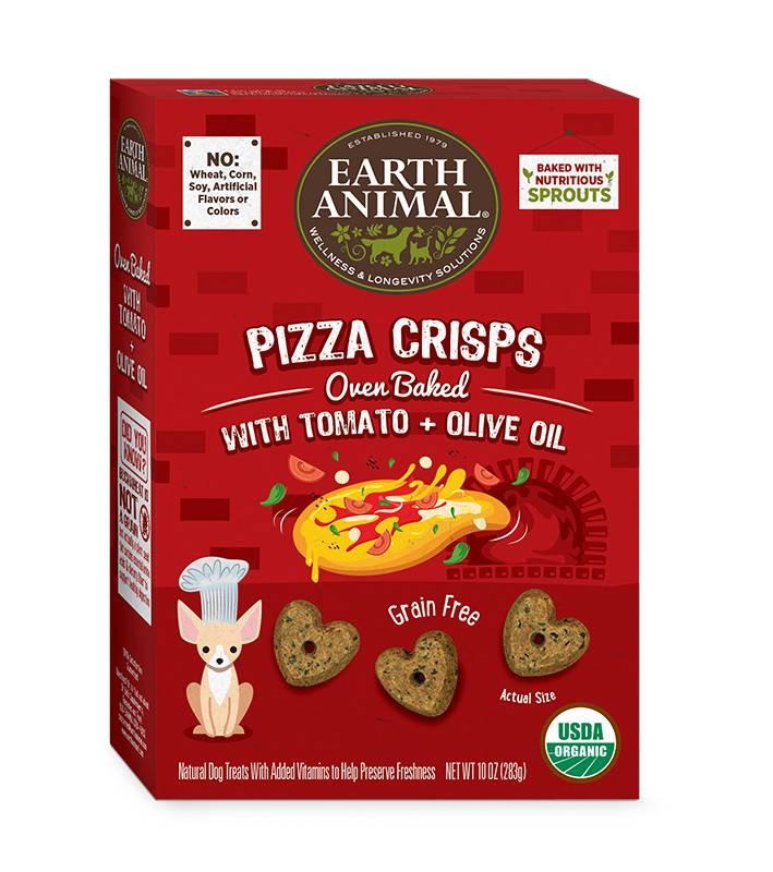 Earth Animal Earth Animal Pizza Crisps Grain-Free Organic Tomato & Olive Oil Dog Treats, 10 oz