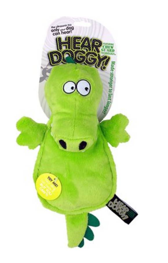 Hear Doggy Hear Doggy - Flatties Gator with Silent Squeaker & Chew Guard Technology, Green, 12""