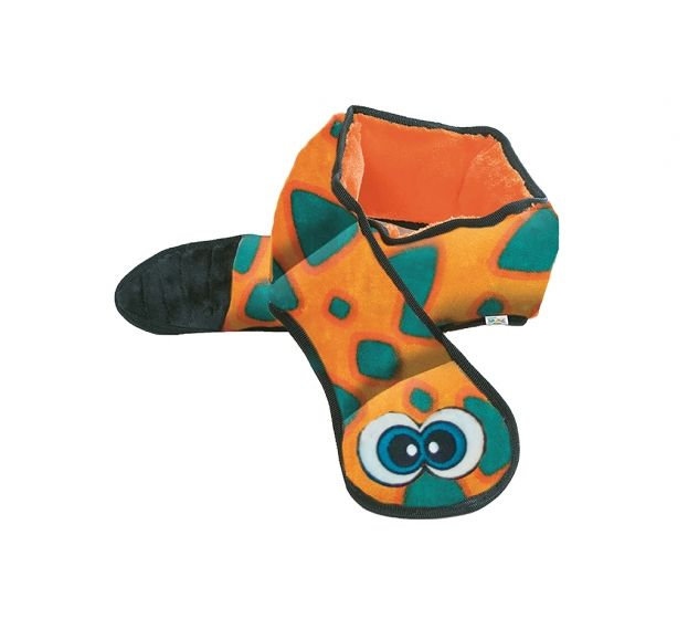 Outward Hound Outward Hound Invincibles Snakes Orange/ Blue Squeak Dog Toy, 6 Squeak