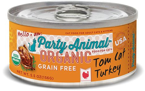 Party Animal Party Animal Organic Tom Cat Turkey Grain Free Cat Can Food, 5.5 oz can