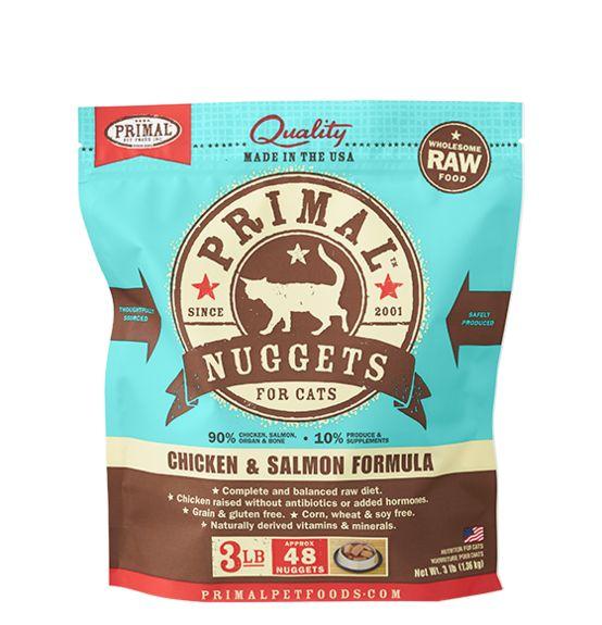 Primal Primal Frozen Cat Food, Chicken & Salmon, 3# bag