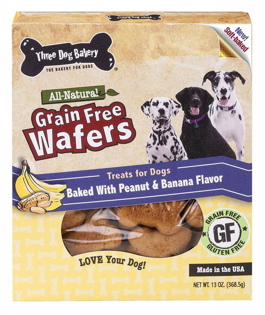 Three Dog Bakery Three Dog Bakery Grain Free Peanut & Banana Wafers Baked Dog Treat, 13 oz box