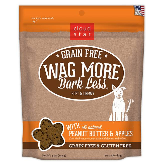 Cloud Star Cloud Star Wag More Bark Less Grain Free Soft & Chewy Peanut Butter & Apples, 5 oz bag