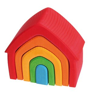 Grimms Rainbow Wooden Stacking House by Grimms