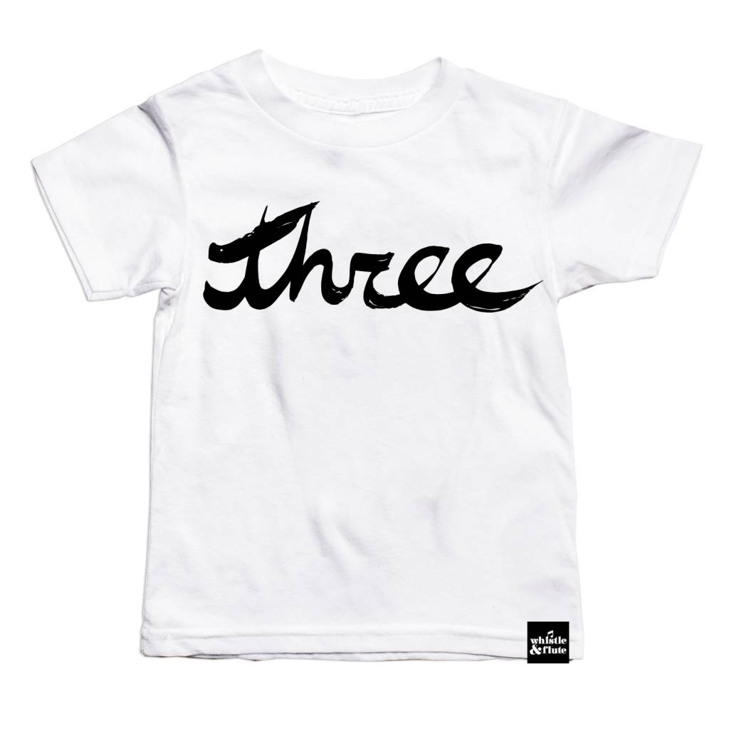 Whistle & Flute Brush Script Number T-Shirts by Whistle & Flute