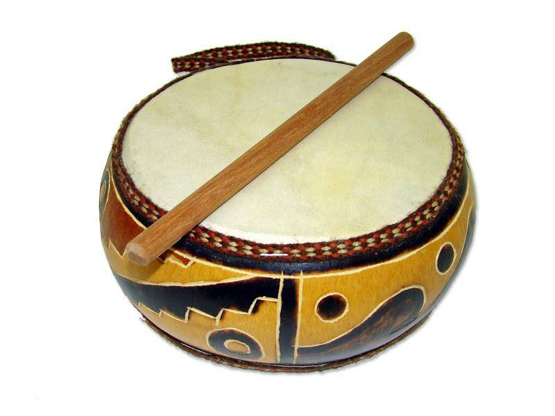 Jamtown Gourd Double Sided Drum with Stick, Musical Instrument (Fair Trade) Designs, Musical Toy (Fair Trade)