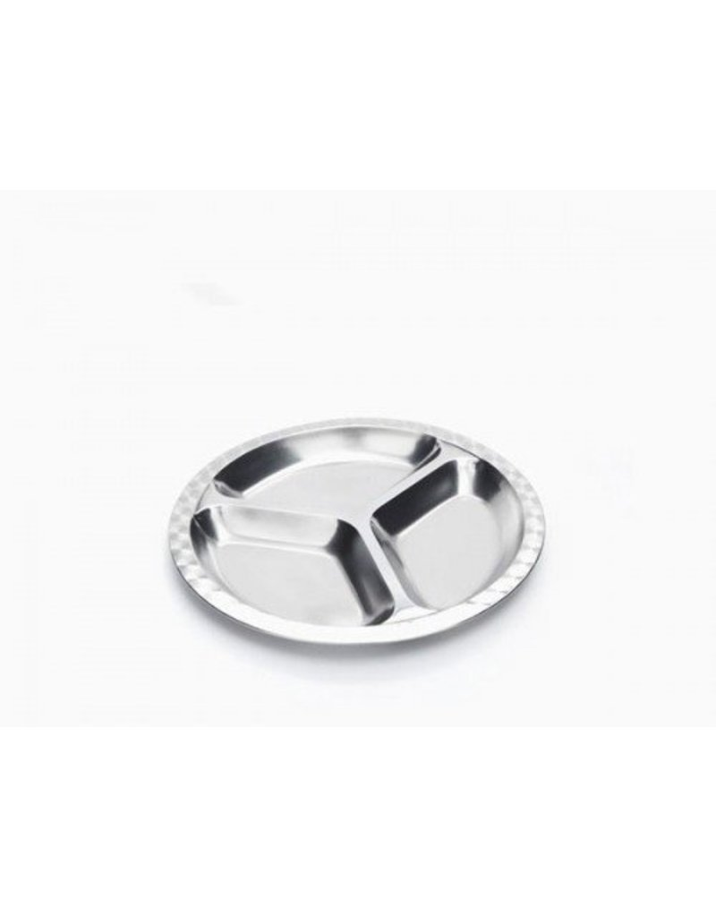 Onyx Divided, Small Round Stainless Steel Plate by Onyx