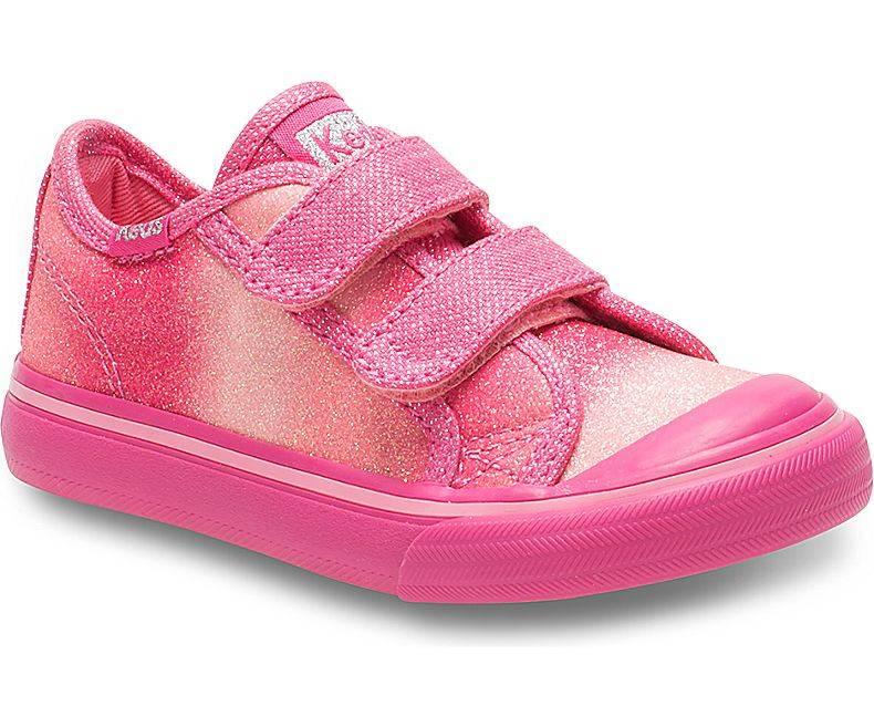 Keds Little Kid Glittery Pink Sugar Dip Hook & Loop Sneakers by Keds